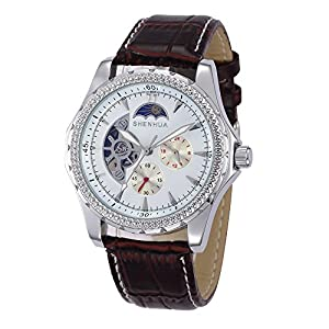 GBI Men's Luxury PU Leather Automatic Mechanical Wrist Watches with 24 Hours Smal Dial-Brown