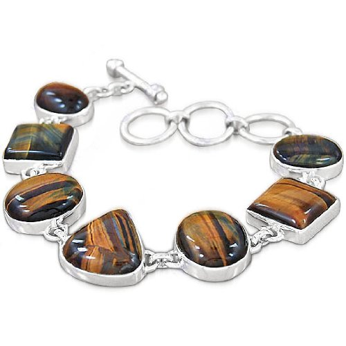 925 Sterling Silver Tiger Eye Natural Gemstone Antique Style Designer Handmade Wedding & Party Wear Link Bracelet Christmas Gift Jewelry