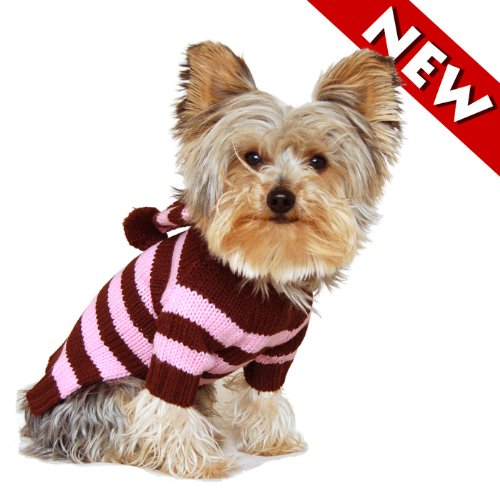 #12 Medium, Designer Pet Apparel Dog Canine Clothes/clothing Puppy Hoodie/hooded Sweater, Brown Pink Stripe, Casual & Stylish