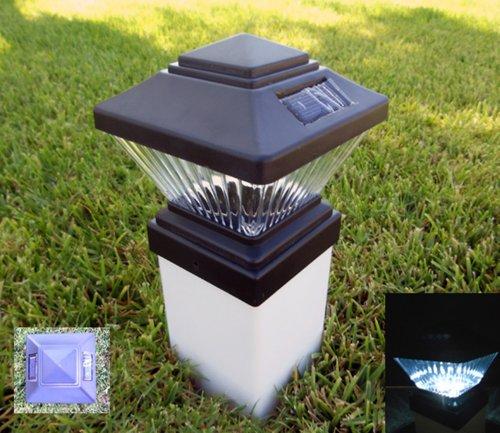 Set Of 2 Black Ultra Bright Led Solar Post Cap Lights 4 X 4