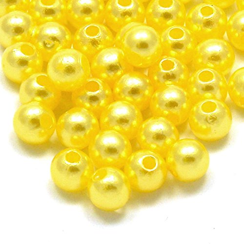 200 Beads Round Plastic Acrylic Faux Pearl Beads With Luster Finish Bead Assortments for Arts Crafts DIY Jewelry Home Decoration Size 6mm (Yellow)