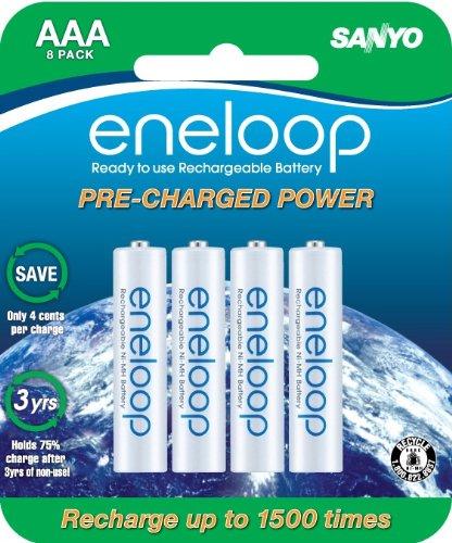 Sanyo eneloop SEC-HR4U8BPN  Ni-MH Rechargeable NiMH AAA Batteries, 8-Pack