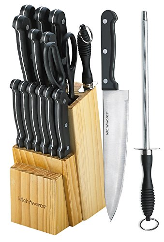 Knife Set of 15 Pieces - Shears & Round Knife Sharpener Included -And A Wood Butcher Block Knives Holder -Cutlery Set For Chefs, Cooks, Commercial Kitchens, Homes, Culinary Schools -By Kitch N' Wares (Knife Set Commercial compare prices)