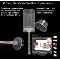 Giarraffa Co. Push Pop Containers 50 Count with Threaded Screw in Stick and Base Design and Tall Flat Top 1