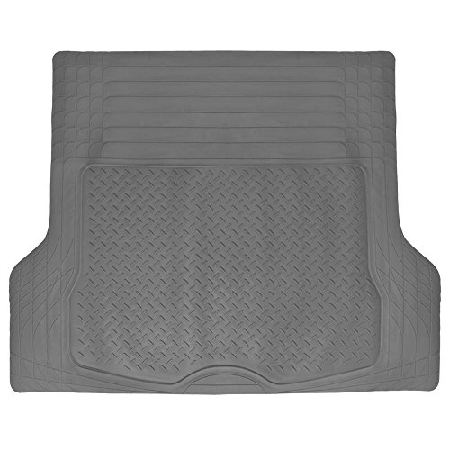 BDK Trimmable Heavy Duty Diamond Plate Cargo Trunk Mat Gray - Trim to Custom Fit for Car SUV VAN