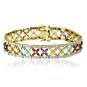 Yellow Gold Plated Sterling Silver Multi-Gemstone Bracelet, 7.25