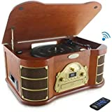 PYLE PTCD54UB Bluetooth Vintage Classic Style Turntable with Radio, CD & Cassette Players, USB Recording, iPod/MP3 Dock