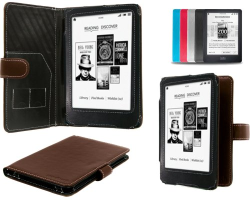 Navitech Brown Bycast Leather Flip Carry Case For The Kobo Glo eReader (As sold by WHSmith)