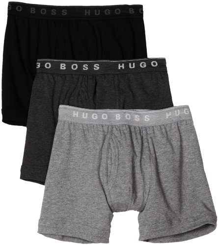 HUGO BOSS Men's Open Vent Boxer 3 Pack, Black/Light Grey/Charcoal, Medium