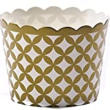 Simply Baked Small Paper Baking Cup, Metallic Gold Diamond, 125-Pack, Entertain with Ease and Style, Serve Cupcakes, Ice cream, Appetizers, and More