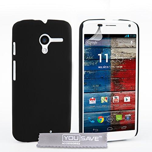 Yousave Accessories Motorola Moto X  2013 Version  Hülle Schwarz Hart Hybride Schutzhülle
