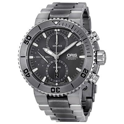 Oris Aquis Chronograph Grey Dial Titanium Mens Watch 01 674 7655 7253-07 8 26 75PEB