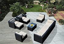 Big Sale ohana collection PN1005 Genuine Ohana Outdoor Patio Wicker Furniture 11-Piece All Weather Gorgeous Couch Set with Free Patio Cover