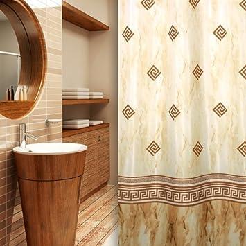textil duschvorhang beige braun 240x200 inkl qualit tsringe kolonial design shower curtain. Black Bedroom Furniture Sets. Home Design Ideas