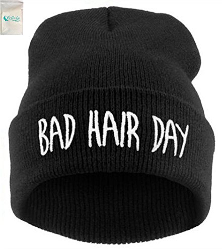 Gellwhu Women Men Trendy Warm Chunky Soft Stretch Cable Knit Slouchy Beanie Hat Cap (Black) (Ranger Adult Accessory Kit)