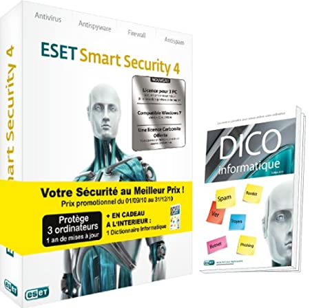 Eset smart security 4 (3 postes, 1 an)