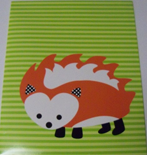 Carolina Pad Studio C the Hair of the Dog Collection Folder ~ Hedgehog on Green Stripes - 1