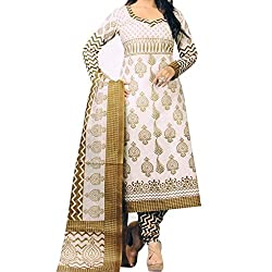 Shree Hari Creation Women's Poly Cotton Unstitched Dress Material (3567_White_Free Size)