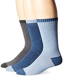Lucky Men's Marled Tip Toe Heel Casual Crew Socks, Denim, 10-13/6-12 (Pack of 3)
