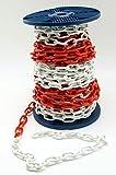 Absperrkette 26mtr Rot-Weiß 38x22mm Glieder 5mm stark Stahl Rundstahlkette Absperrkette