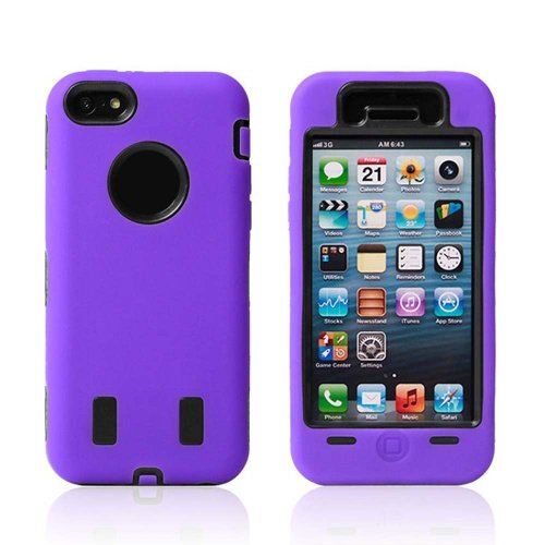 Meaci® Iphone 5C Case 3In1 Combo Hybrid Defender High Impact Body Armorbox Hard Pc&Silicone Case With 1X Diamond Anti-Dust Plug Stopper-Random Color (Purple&Black)
