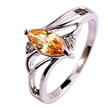 buy Psiroy 925 Sterling Silver Stunning Created Gorgeous Women'S 5Mm*9Mm Marquise Cut Cz Morganite Filled Ring