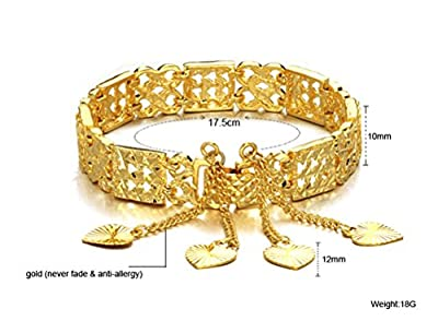 Qinggetme Women Hollow Plated 18K Gold Four Pendent Love Hypoallergenic Bracelet