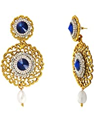Traditional Ethnic Blue Round Royal Gold Plated Dangler Earrings With Crystals For Women By Donna ER30105G