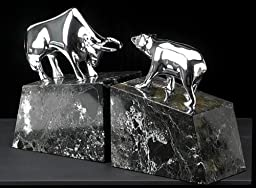 Brass Bull & Bear Marble Bookends, Chrome Plated