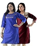 Hi Fi Creation Women's Silk Cotton Kurti (CK-14-16-F-XXL_Blue, Beige_XX Large)