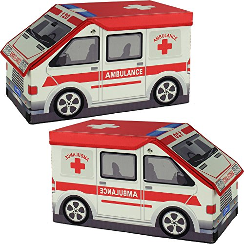 Set Of Two Toy Storage Box Ambulances (2 Ambulances) (Toddler Poodles Of Fun Costume)