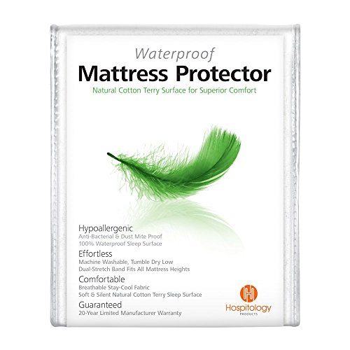 Hospitology Waterproof & Hypoallergenic Natural Cotton Mattress Protector 20-Year Warranty, Fitted-Sheet Style, 38-Inch by 75-Inch, Twin (Natural Mattresses compare prices)