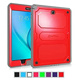 Fintie Samsung Galaxy Tab A 8.0 Case [CaseBot Tuatara] - Rugged Unibody Dual Layer Hybrid Full Protective Cover with Built-in Screen Protector and Impact Resistant Bumper, Lifetime Warranty , Red