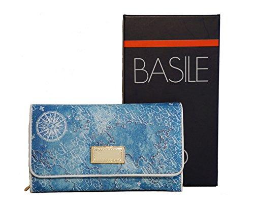 Portafoglio Donna Basile Linea Pantelleria In Ecopelle Modello Medio Trifold, Colore: Azzurro