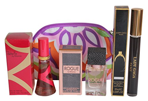 travel-bag-and-perfume-set-for-women-clinique-small-purse-10ml-fame-by-lady-gaga-75ml-rebelle-and-ro