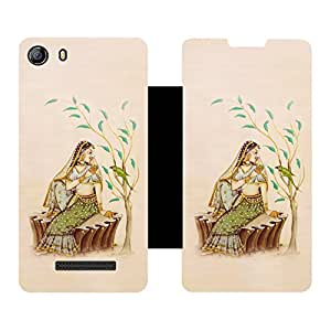 Phone Candy Designer Flip Cover with hi-res printed Vinyl sticker wrap-around for Micromax Canvas Spark 2 Q334