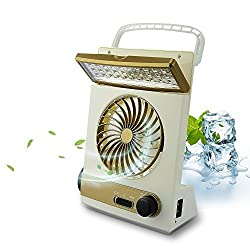 Life Up Mini Portable Solar Light Fan with LED lights and Solar Panel Solar Powered LED Camping Lam Flashlight Great for Outdoor Camping Use Gold