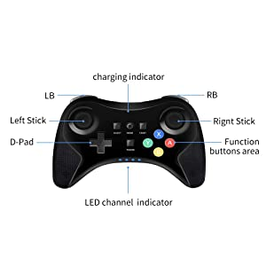 PowerLead Wireless Controller Gamepad for Nintendo Wii U Rechargeable Bluetooth Dual Analog Game Controller Joystick Gamepad (Color: Black)