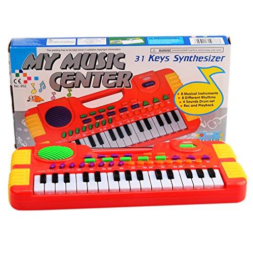 Nios-Teclados-Wolfbush-31-Tecla-Piano-Electrnico-Instrumentos-Musicales-Juguetes-Juegos-Rojo