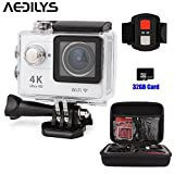 Sport Camera ,AEDILYS 4K HD Action Camera ,Wrist 2.4G Wireless RF Remote Control , WiFi 2inch 170° Sports Video, lens Helmet go waterproof pro camera +32GB Card+Camera Bag -White