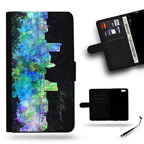 Smart Phone Case Accessory # Leather Cover Protective Case Wallet Case for Samsung Galaxy Note 4 Edge N9150 // Fort Wayne IN indiana city Skyline watercolor painting (Halloween City Fort Wayne)