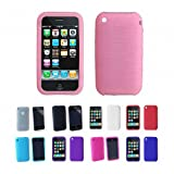 SODIAL(TM) Textured Silicone Skin Case Cover For Apple iPhone 3G 3Gs 8GB 16GB 32GB , Pink, One Size