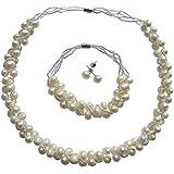 Freshwater Natural Pearl Handmade Necklace Bracelet & Earring Set