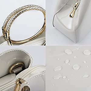 5c631814ce Bagood Women's Evening Bags Patent Leather Glossy Handbag Clutches Purses  Shoulder Bag for Wedding Prom Party White