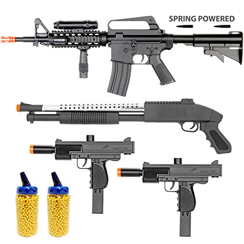 BBTac Airsoft Gun Package - The Operator - Collection of 4 Airsoft Guns - Powerful Spring Rifle, Shotgun, Two SMG, 4000 BB Pellets, Great for Starter Pack Game Play (Starter Aeg compare prices)
