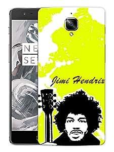 "Jimi Hendrix Art Neon GreenPrinted Designer Mobile Back Cover For ""OnePlus 3"" (3D, Matte, Premium Quality Snap On Case)"