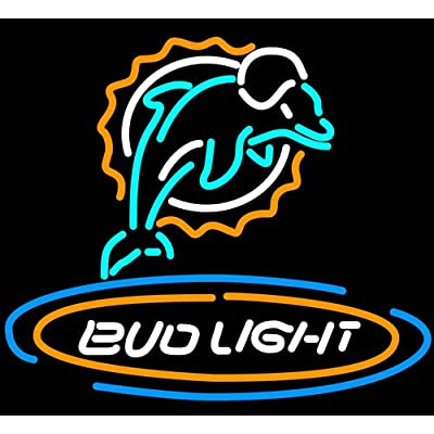 Revolutionary LED Neon Sign!! Bud Light Miami Dolphins Beer Neon