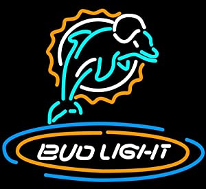 """Super Bright Revolutionary LED Neon Sign!! Bud Light Miami Dolphins Beer Neon Sign 32""""x30"""": The Next Generation LED Neon Sign, the Best Offer!!"""
