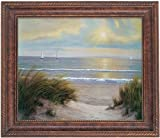 Yosemite Home Decor 39 by 31-Inch California Beach Sunset Framed Hand Painted Traditional Oil Artwork, Scenic Coastal