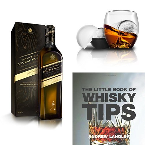 discount duty free Johnnie Walker Double Black Label Whisky, On the Rocks Tumbler & Ice Ball Mould and The Little Book of Whisky Tips